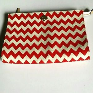 Kate Spade Red and White Chevron Clutch